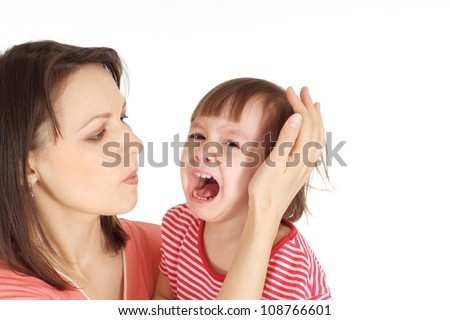 Woman and her daughter in a red sweater on a white background - stock photo