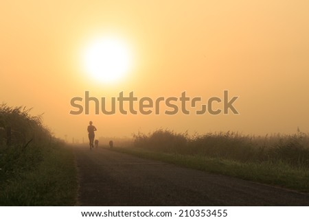 Woman and her dogs running in the fog on a sunny morning. - stock photo