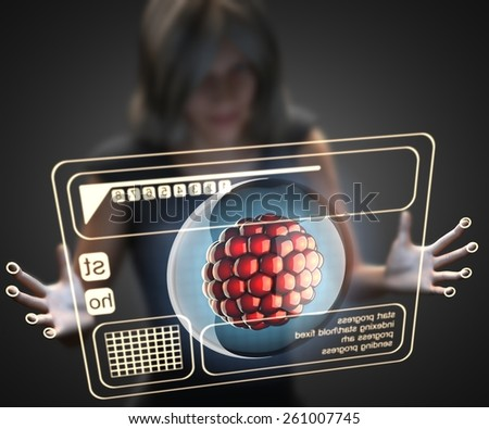 woman and hologram with cell - stock photo
