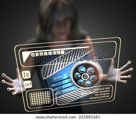 woman and hologram with clapboard - stock photo