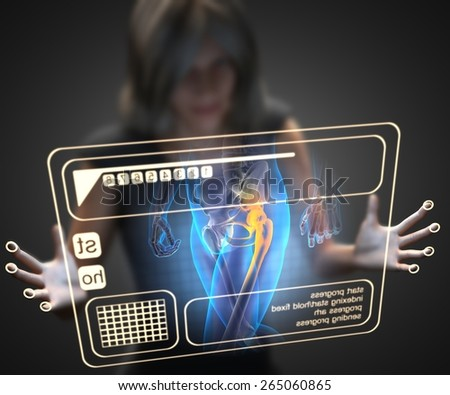 woman and hologram with hip radiography - stock photo