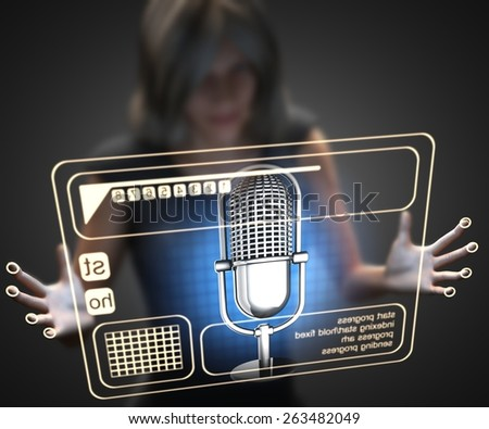 woman and hologram with microphone - stock photo