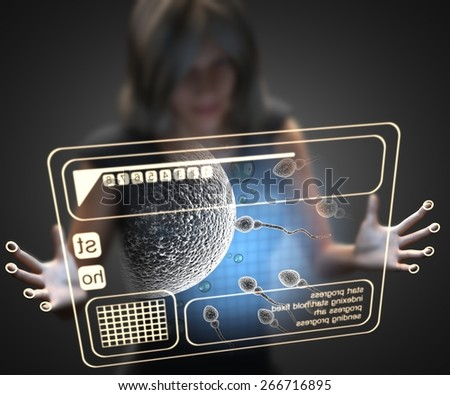 woman and hologram with reproduction - stock photo