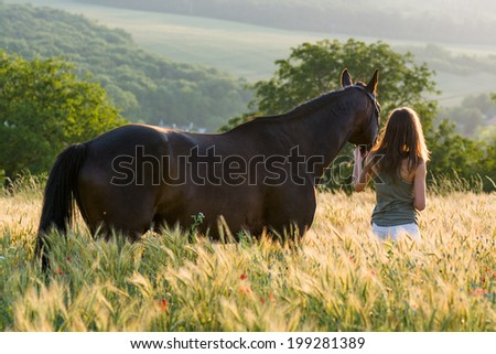 woman and horse training during sunset - stock photo