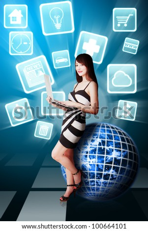 Woman and icons from the App's world : Elements of this image furnished by NASA - stock photo
