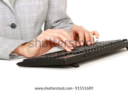 Woman and keyboard in the office, isolated on white background