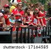 Woman and Kids on Parade Float - stock photo