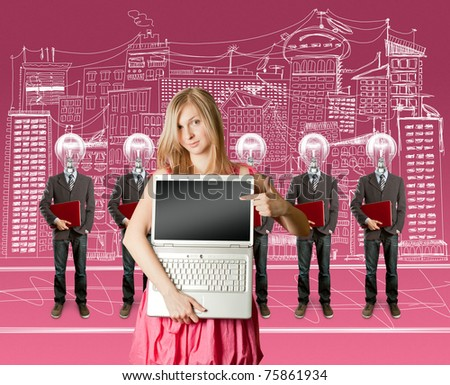 woman and lamp head businesspeople with red laptop in his hands - stock photo