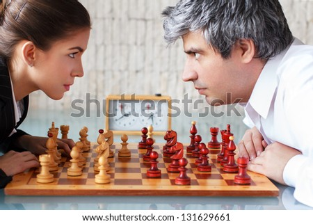 Woman and man competition - stock photo