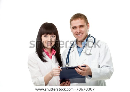 woman and man doctors over white background