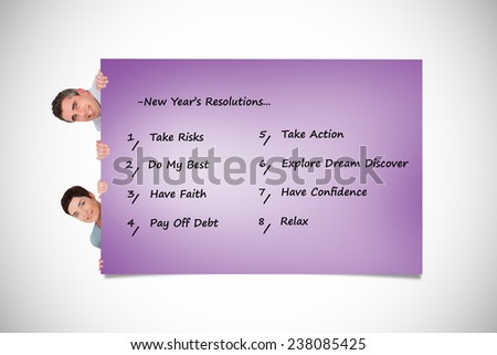 Woman and man hiding behind a list against purple card - stock photo