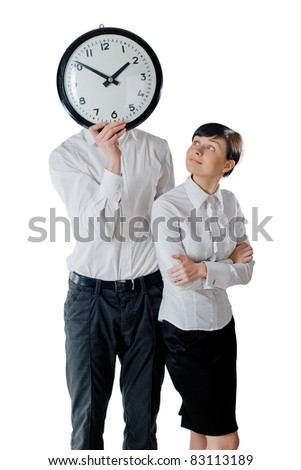 Woman and man holding a clock. Isolated on white