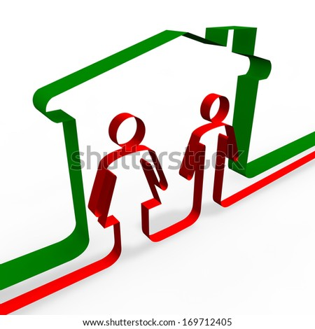 Woman and man house taxes imposed, IMU - stock photo