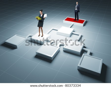 woman and man on 3d business chart - stock photo