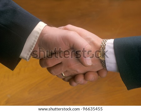 Woman and man shaking hands - stock photo