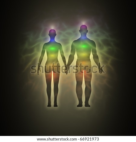 Woman and man, silhouette of human body with aura, chakras, energy - stock photo