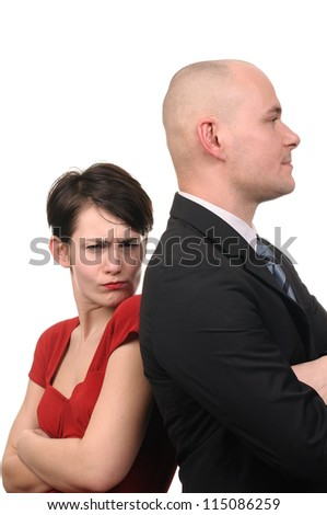 Woman and man standing back to back isolated on white background. - stock photo