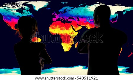 Woman and Man Watching Earth Global Warming 3D Illustration