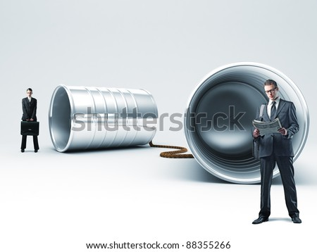 woman and man with 3d can phone - stock photo
