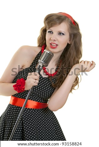 Woman and microphone. Singer - stock photo