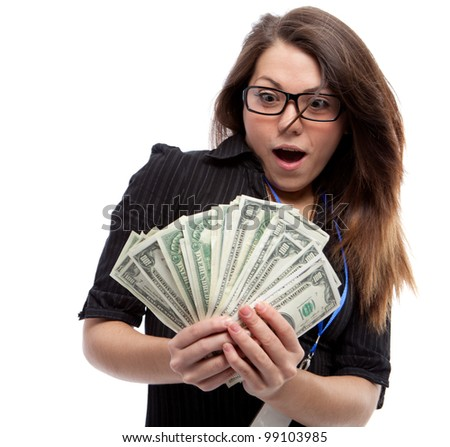 Woman and money. Isolated over white.