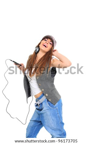 woman and music over white background - stock photo