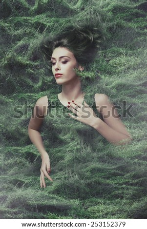 woman and nature beauty photo compilation - stock photo
