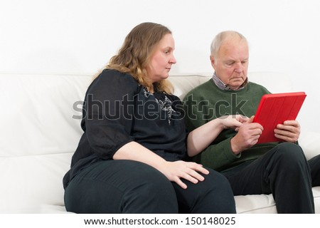 woman and pensioners on the Tablet PC