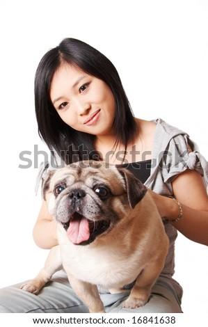 woman and pug dog. - stock photo