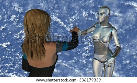 Woman and robot at blue sky - Artificial Intelligence Technology - stock photo