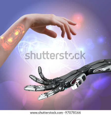 woman and robot's hands as a symbol of connections between people and technology - stock photo