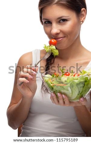 Woman and salad - stock photo