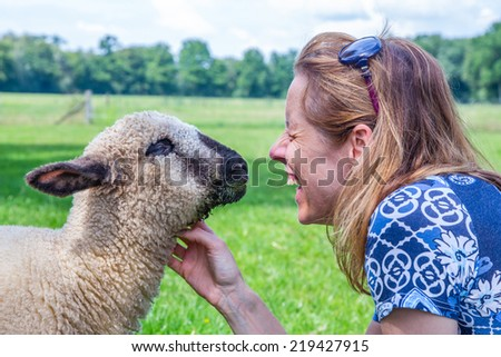 Woman and sheep heads together in green meadow - stock photo
