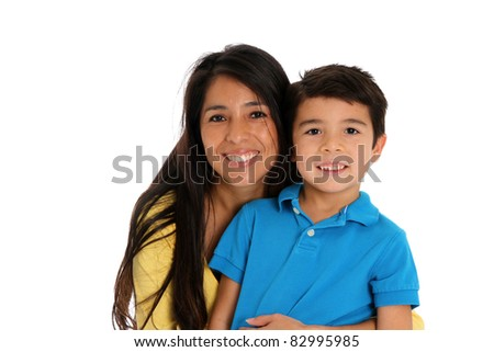 woman and son set on a white background - stock photo