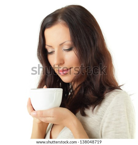 Woman and tea or coffee cup isolated on white background - stock photo