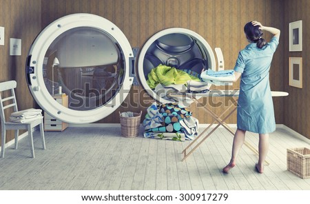 Woman and the Big Wash. Creative combination concept - stock photo