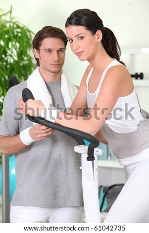 Woman and trainer