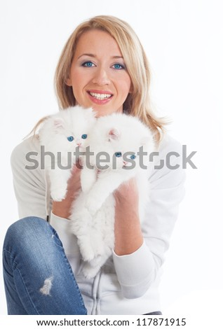 woman and two cats - stock photo