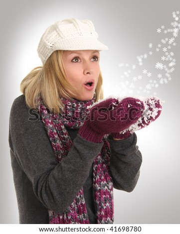 Woman and winter snowflakes - stock photo