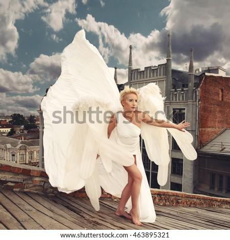 Fashion White Dress Fabric Cloth Waving On Wind Flying