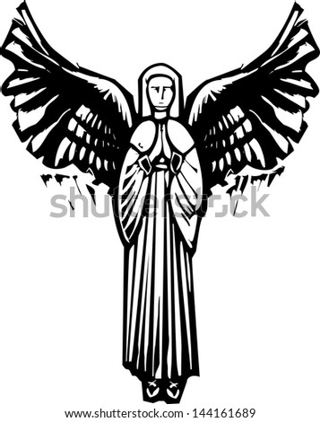 Woman Angel with wings praying in a woodcut style image - stock photo