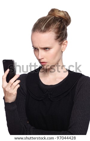 woman angry cellphone - stock photo