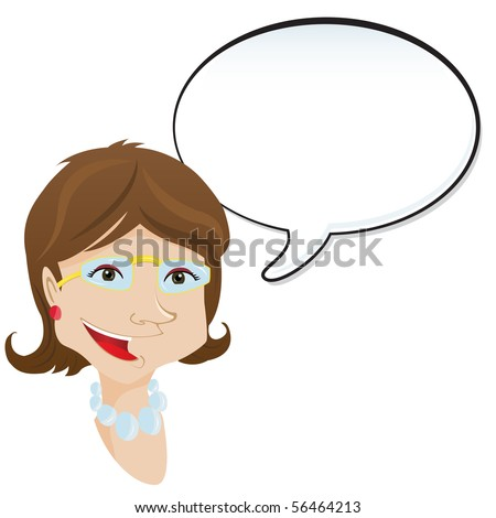 Woman announcement with speech bubble. - stock photo