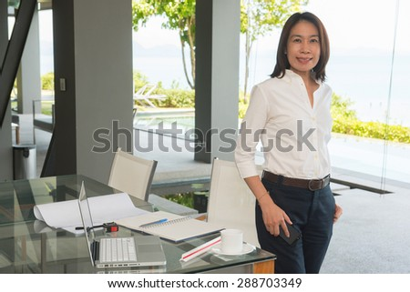 woman architect working in home office