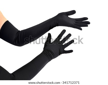 Woman arms with long black gloves against white background