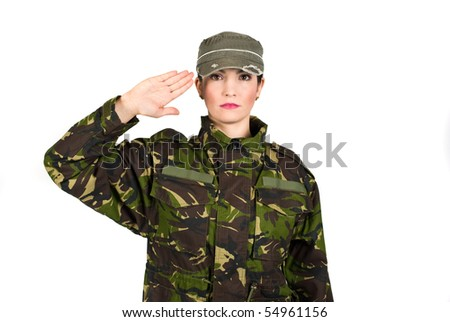 Woman army soldier saluting isolated on white background - stock photo