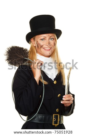 Woman as a chimney sweep. Good luck on New Years Eve and New Year. - stock photo