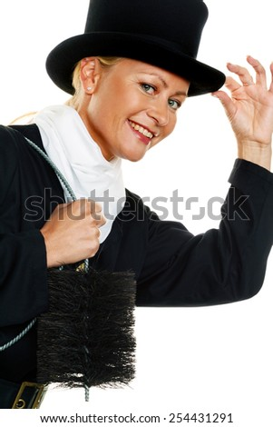 woman as a chimney sweep. lucky charms new year's eve and new year. - stock photo