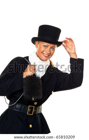 Woman as a chimney sweep with a hat against a white background - stock photo