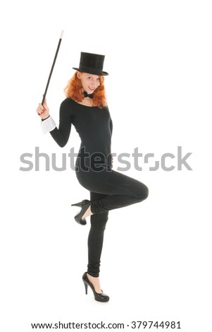 Woman as dandy with black hat isolated over white background - stock photo